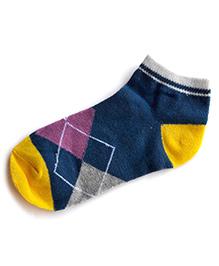 Milonee Diamond Print Socks - Teal