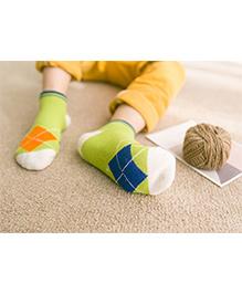 Milonee Diamond Print Socks - Green