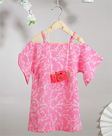 Love The World Today Shibuya Hand Block Printed Dress - Pink