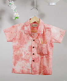 Love The World Today Dumplings Over Flowers Tie & Dye Printed Shirt - Pink