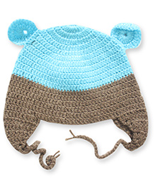 Nappy Monster Crochet Cap With Ears - Brown & Blue