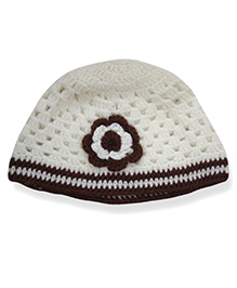 Nappy Monster Crochet Cap With Flower - White & Brown