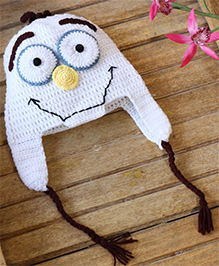 Nappy Monster Snowman Crochet Cap - White
