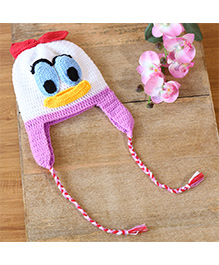 Nappy Monster Duck Crochet Cap With A Bow - White & Purple