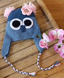 Nappy Monster Owl Crochet Cap With A Flower - Blue
