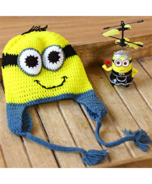 Nappy Monster Cartoon Crochet Cap - Yellow