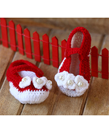 Nappy Monster Booties With Flower & Pearl - Red & White