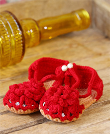 Nappy Monster Flower Booties - Red