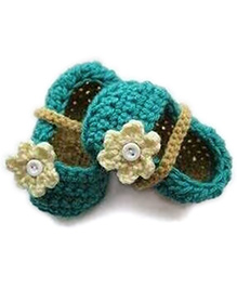 Nappy Monster Booties With A Button Studded Flower - Blue