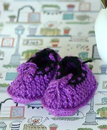 Nappy Monster Crochet Baby Booties - Purple