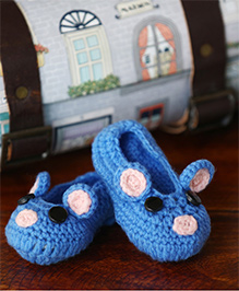Nappy Monster Mouse Crochet Booties - Blue