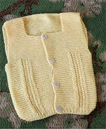 Nappy Monster Sleeveless Front Open Sweater - Lemon Yellow