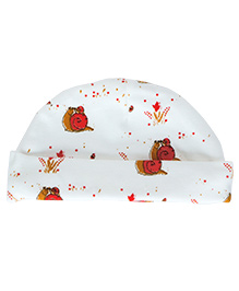 Bachha Essential Snail Print Cap - White & Red