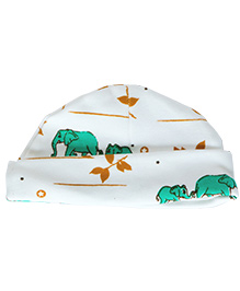 Bachha Essential  Elephant Print Cap - White & Green