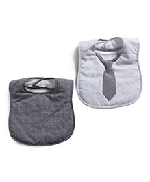 Frenchie Dotted Bib With Dark Grey Stripe Tie Pack Of 2 - Light Grey & White