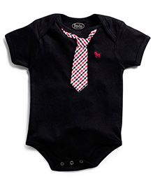 Frenchie Onesie With Gingham Tie - Black