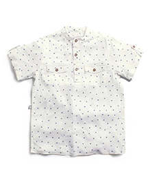 Frenchie Mandarin Collar Shirt With Dots - White & Blue