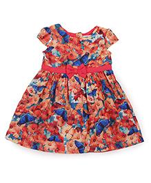 Beebay Cap Sleeves Frock Floral Print - Multi Color