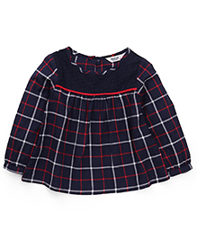 Beebay Full Sleeves Checks Top - Navy Blue