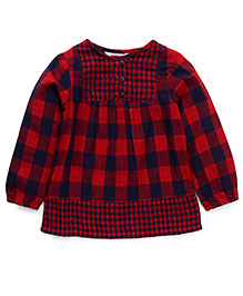 Beebay Long Sleeves Checks Top - Red And Navy