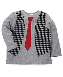 Beebay Full Sleeves T-Shirt Tie And Waistcoat Print - Grey