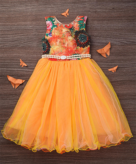 M'PRINCESS Front Diamond Print Gown - Orange
