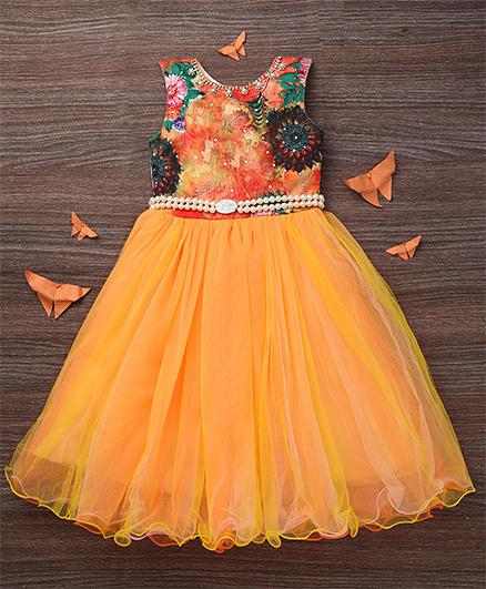 M'PRINCESS Front Diamond Print Gown - Orange