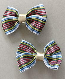Tiny Closet Checkered Bow Hair Clips - Blue & Red