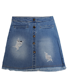 Bees And Butterflies Micro Skirt With Tearing & Ribs - Light Blue