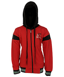 Haig-Dot Full Sleeves Hooded Sweatshirt - Red