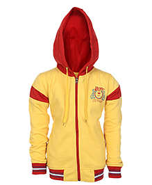 Haig-Dot Full Sleeves Hooded Sweatshirt - Yellow