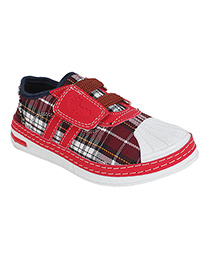 Myau Checkered Print Casual Shoes - Red