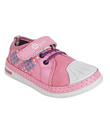 Myau Dot Print Kids Casual Shoes - White & Pink