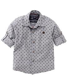 Jash Kids Full Sleeves Star Printed Shirt - Grey