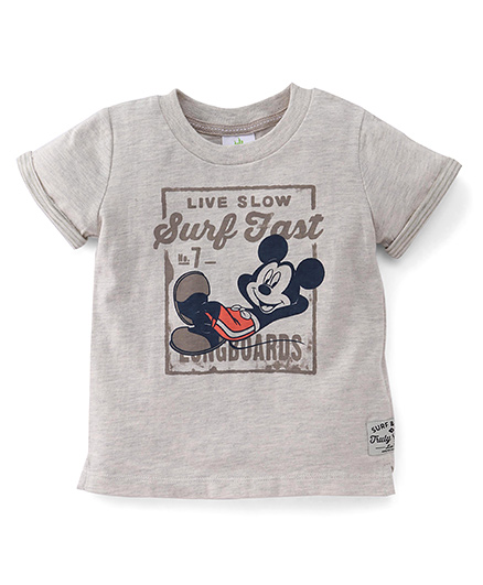 Disney Baby Half Sleeves T-Shirt Mickey Mouse Print - Grey