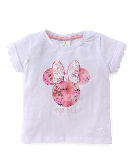 Disney Baby Half Sleeves Top Minnie Mouse Print - White
