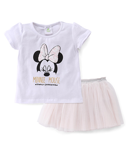 Disney Baby Half Sleeves Top And Skirt Set Minnie Print - White