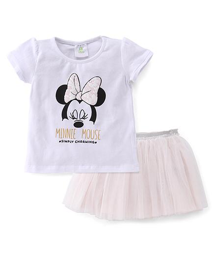 Disney Baby Half Sleeves Top And Skirt Set Minnie Print - White