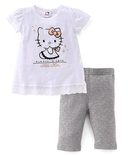Fox Baby Short Sleeves Top And Leggings Kitty Print - White Grey