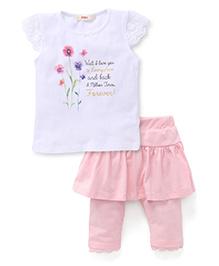 Fox Baby Cap Sleeves Floral Print Top With Skeggings Set - White & Pink