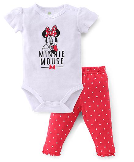 Disney Baby Half Sleeves Onesie With Leggings Set Minnie Print - White Pink