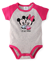 Disney Baby Half Sleeves Onesie Mickey Minnie Print - Grey Pink