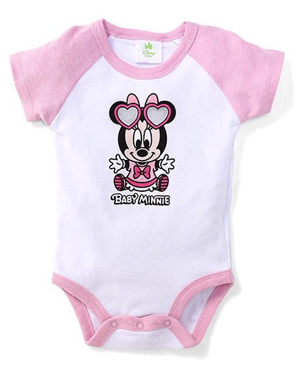 Disney Baby Half Sleeves Onesie Mickey Minnie Print - White Pink
