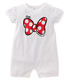 Disney Baby Half Sleeves Romper Bow Print - White