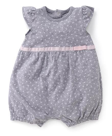 Fox Baby Flutter Sleeves Romper Floral Print - Grey