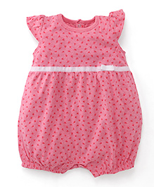 Fox Baby Flutter Sleeves Romper Floral Print - Pink
