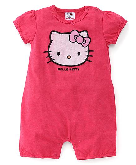Hello Kitty Printed Half Sleeves Romper - Pink
