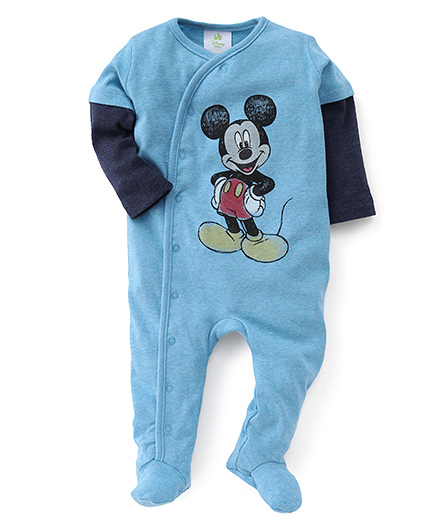 Disney Baby Full Sleeves Footed Romper Mickey Print - Blue