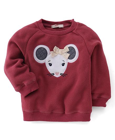 Fox Baby Full Sleeves Winter Wear Top Mouse Print - Maroon