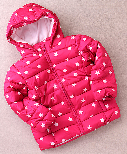 Fox Baby Full Sleeves Star Printed Jacket - Fuchsia